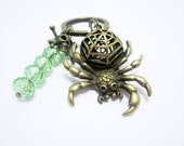 Large 3-D Spider Charm Keychain Skull and Crossbones Bronze Charms Green Crystal Rondelles Halloween Spooky