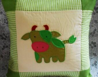 COW Quilt Throw Pillow - Applique Patchwork Pillow Cover  - Kid Decorative Pillow Cover - Cushion Cover 15 inch - Cotton Pillow Slip