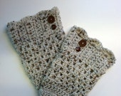 Oatmeal Boot Cuffs with Brown Buttons or in any other desired color and size