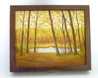 Original VINTAGE LANDSCAPE PAINTING / Winter Pond