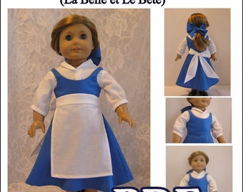 La Belle et Le Bete Town Dress PDF Pattern for American Girl Doll - Instant Download