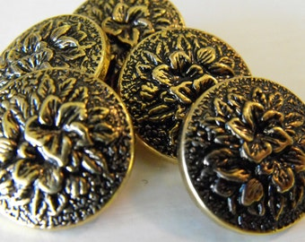 5 Gold Flower Round Large Shank Buttons Size 7/8""