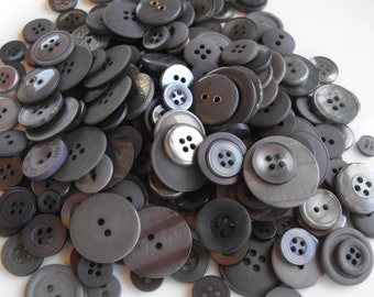 Ash Gray Buttons, 100 Bulk Assorted Round Multi Size Crafting Sewing Buttons
