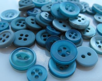 Deep Sea Blue Buttons, 50 Small Assorted Round Sewing Crafting Bulk Buttons