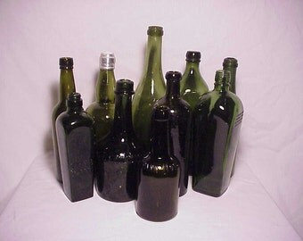 c1890-1930s Collection of 10 Different Dark Olive Green Black Glass Liquor Booze, Beer Bottles