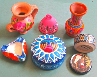 Take 20% Off Sale SIX Piece Mexican Folk Art Painted Ceramic Containers