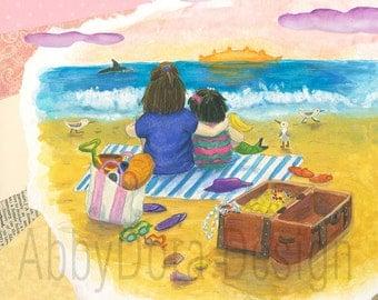 Beach, Sisters, Sunset, Treasure Chest, Dolphin, Ocean, Gold, Sand, Purple, Children's Art