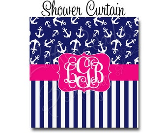 "Custom Personalized Monogram Shower Curtain - You Choose Size , 70"" x 70"", 70"" x 90"", or ANY size Anchor Nautical Stripes"