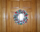 Christmas Fabric Rag Wreath - Red And Green