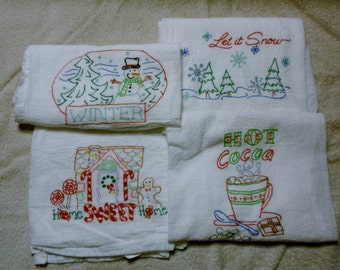 Set Of Four Winter Holiday and Painted Flour Sack Dish Towels