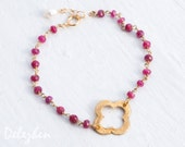 Red Ruby Bracelet - July Birthstone Bracelet - Gold Four Leaf Clover Bracelet - Gold bracelet - Wire wrapped Bracelet - Gift for her