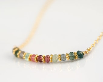 Multi-Colored Tourmaline Necklace - Bar Necklace - October Birthstone Necklace - Gold Necklace - Wire wrapped Necklace - Minimalist Jewelry