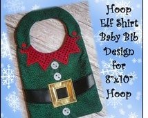 In The Hoop Elf Shirt Baby Bib Embroidery Machine Design for 8x10 Hoop
