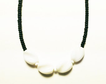 Black steel chain, black beads, and white vintage beads necklace