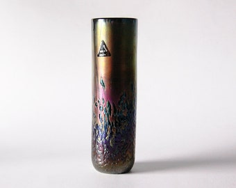 Vintage Maltese Phoenican Iridiscent Art Glass Vase  - 80s