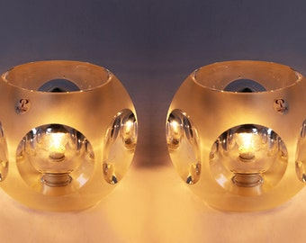 Mid Century German Pair of Crystal Glass Table Lamps - Peill & Putzler 70s