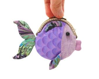 Tiny purple goldfish clutch purse