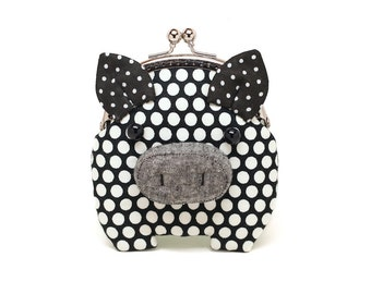 Little angry black piggy clutch purse