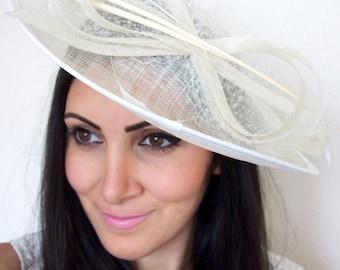Ivory Fascinator Hat - Wide Slightly brimmed mesh Fascinator Hat on a Headband