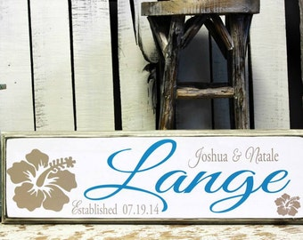Family Name Sign Beach Decor on Wood with Established Date