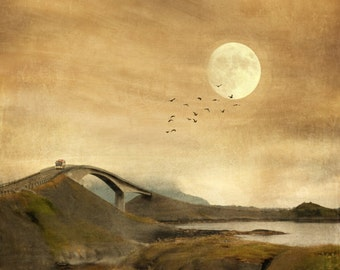 Atlantic Road, travel photography, Norway, surreal dreamy landscape, sunset print, dusk, moon art, Storseisundet Bridge