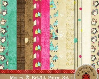 "Merry & Bright Penguins Hedgehog and Bird Friends. Digital Textured Scrapbook paper. 12x12"" 300 DPI. Instant Download"
