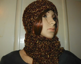 Earthtone Scarf and Hat Set