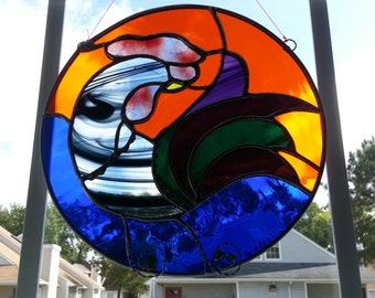 Stained Glass Rooster Round Panel