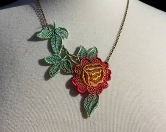 Hand painted lace necklace, red rose lace necklace, hand dyed lace