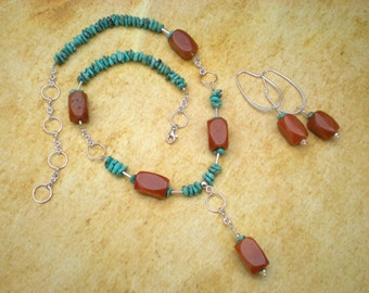 Tequila sunrise beaded necklace and earrings set, turquoise, peach aventurine, sterling silver, unique jewelry by Grey Girl Designs on Etsy