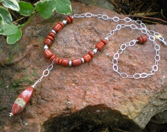 October beaded necklace, red jasper, sterling silver, red bend jasper, fall necklace, unique jewelry by Grey Girl Designs on Etsy