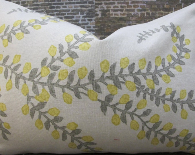 Designer Pillow Cover  -  10 x 20, 12 x 16, 12 x 18, 12 x 20 - JR Prasana Lemongrass