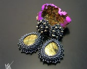 Beadwork, bead embroidery, beaded post earrings Alyanra with labradorite and pyrite.
