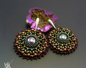 Bead embroidery, beadwork, beaded post earring ' Katyia' with seashell pearls from Classic collection