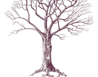 "Size 20""x24"" - Wedding Tree Guest Book - Fingerprint -  Thumb Tree - poster & ink pad"