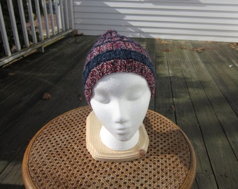 A Red, White and Blue with Blue Stripes Knit Hat