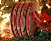 "Red Sparkle: Festive Sparkly Skinny Ribbon, Trim / 1/4"" x 17.5 yard spool / Holiday Craft, Decorating, Decor, Gift Wrap Supplies"
