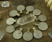 Vintage Kuchi Coin Pendants, Small, Med, Nomadic, Gypsy, Boho Decor, Jewelry Making, Sewing Supply, Tribal Fringe, Adornment, 10 Pendants