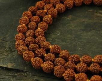 Small Shiva Tears: 7mm Rudraksha Beads / 108 beads / Natural Indian Seeds / Yoga, Spiritual, Buddhism Jewelry Making Supplies
