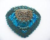 Blue Arashi Silk Ribbon Barrette    Beads/117