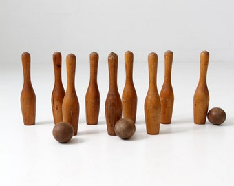 antique bowling game, 1920s skittles with box