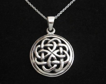 CELTIC KNOT round sterling silver pendant with chain necklace