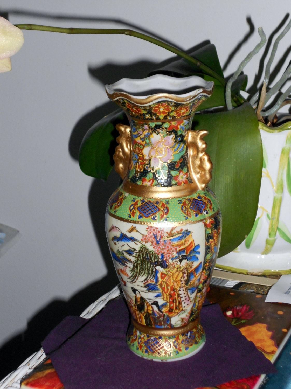 Vintage Asian Satsuma Moriage Vase With Geisha By