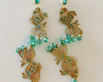 Vintage Die Cut Fish Brass/Copper/Patina Earrings - Iridescent Green Glass Beads Emerald Glass Posts  - Long chandelier