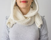 Scarf // Handknitted white hood - hat - FREE SHIPPING