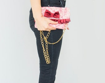 BAG // Fuchsia pink Clutch with satin bow and ruffles with removable light-wheight chain