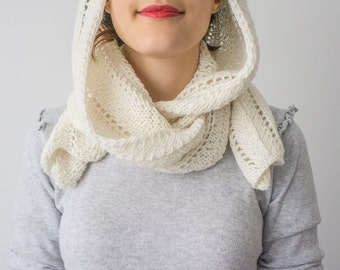 Hooded Scarf Long Scarf Wool Scarf Chunky Scarf Scoodie Scarf Wool Ivory Scarf Ivory hooded scarf Knit Scoodie Scarf Hooded Cowl