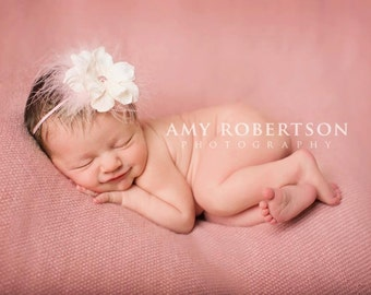 The CHER Headband - Pink and  Creamy White Feather Band- Preemie to Adult Sizes Available