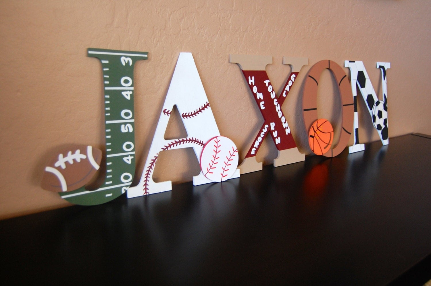 sports themed handpainted wall letters by lovelyletterboutique With sports themed wall letters