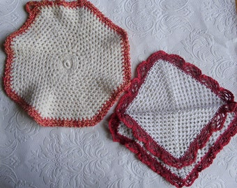 Vintage Crocheted Potholders or Hot Mats - Vintage Kitchen - White with Red Trim - Double Sided Potholder - Round Mat - Hand Crocheted